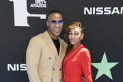 (L-R) DeVon Franklin and Meagan Good attend the 2019 BET Awards on June 23, 2019 in Los Angeles, California.