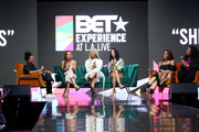 (L-R) Dana Chanel, Meagan Good, Shavone Charles, Draya Michele, Stephanie Ike, and Raquel Harper speak onstage at BET Her Presents Fashion & Beauty during the BET Experience at Los Angeles Convention Center on June 22, 2019 in Los Angeles, California.