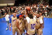 (L-R) Sarunas Jackson, Jackie Long, 2 Chainz, The Game and Blueface play in the BETX Celebrity Basketball Game Sponsored By Sprite during the BET Experience at Los Angeles Convention Center on June 22, 2019 in Los Angeles, California.