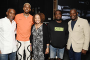 (L-R) Jeff Johnson, Nick Young, Depelsha McGruder, Wale, and Barron Witherspoon Sr attend the 2019 BET Experience Genius Talks Sponsored By Dennys at Los Angeles Convention Center on June 21, 2019 in Los Angeles, California.