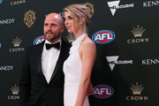 Nathan Jones of the Demons and his wife Jerri Jones arrives ahead of the 2019 Brownlow Medal at Crown Palladium on September 23, 2019 in Melbourne, Australia.