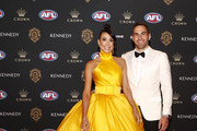 Josh Kennedy of the Swans and partner Ana Calle arrive during the 2019 Kennedy Brownlow Red Carpet arrivals at Crown Palladium on September 23, 2019 in Melbourne, Australia.