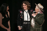(L-R) Leslie Fram, Brandi Carlile and Tanya Tucker seen onstage during the 2019 CMT Next Women Of Country at CMA Theater at the Country Music Hall of Fame and Museum on November 12, 2019 in Nashville, Tennessee.