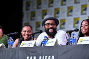 (L-R) China Anne McClain, Cress Williams and Nafessa Williams speak at the 'Black Lightning' Special Video Presentation and Q&A during 2019 Comic-Con International at San Diego Convention Center on July 20, 2019 in San Diego, California.