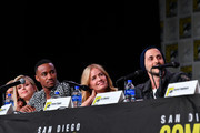 """Erin Moriarty, Jessie T. Usher, Elisabeth Shue and Tomer Capon speak at """"The Boys"""" Panel during 2019 Comic-Con International at San Diego Convention Center on July 19, 2019 in San Diego, California."""