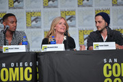 Jessie T. Usher, Elisabeth Shue and Tomer Capon speak at 'The Boys' Panel during 2019 Comic-Con International at San Diego Convention Center on July 19, 2019 in San Diego, California.