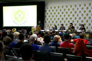 (L-R) Deborah Ann Woll, Amy Dallen, Eric Campbell, B. Dave Walters, and Jason Charles Miller speak at the All Things RPG-E: Geek & Sundry panel during 2019 Comic-Con International at San Diego Convention Center on July 18, 2019 in San Diego, California.
