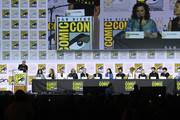 "(L-R) Kirsten Beyer, Heather Kaden, Akiva Goldsman, Michael Chabon, Alex Kurtzman, Patrick Stewart, Isa Briones, Santiago Cabrera, Evan Evagora, Brent Spiner, Jeri Ryan, and Jonathan Del Arco speak at the ""Enter The Star Trek Universe"" Panel during 2019 Comic-Con International at San Diego Convention Center on July 20, 2019 in San Diego, California."
