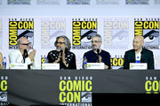 "Akiva Goldsman, Michael Chabon, Alex Kurtzman, and Patrick Stewart speak at the ""Enter The Star Trek Universe"" Panel during 2019 Comic-Con International at San Diego Convention Center on July 20, 2019 in San Diego, California."