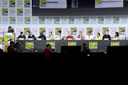 (L-R) Chris Hardwick, Andrew Chambliss, Ian Goldberg, Lennie James, Alycia Debnam-Curry, Danay Garcia, Maggie Grace, Jenna Elfman, Austin Amelio, Alexa Nisenson, Ruben Blades and Karen David speak at the 'Fear The Walking Dead' Panel during 2019 Comic-Con International at San Diego Convention Center on July 19, 2019 in San Diego, California.