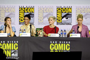 (L-R) Alycia Debnam-Curry, Danay Garcia, Maggie Grace and Jenna Elfman speak at the 'Fear The Walking Dead' Panel during 2019 Comic-Con International at San Diego Convention Center on July 19, 2019 in San Diego, California.