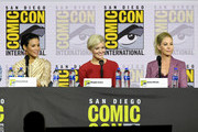 (L-R) Danay Garcia, Maggie Grace and Jenna Elfman speak at the 'Fear The Walking Dead' Panel during 2019 Comic-Con International at San Diego Convention Center on July 19, 2019 in San Diego, California.