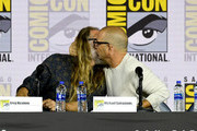 Greg Nicotero and Michael Satrazemis speak at the 'Fear The Walking Dead' Panel during 2019 Comic-Con International at San Diego Convention Center on July 19, 2019 in San Diego, California.