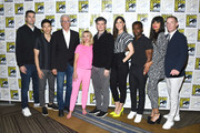 (L-R) Drew Goddard, Manny Jacinto, Ted Danson, Kristen Bell, Michael Schur, D'Arcy Carden, William Jackson Harper, Jameela Jamil and Marc Evan Jackson attend the 2019 Comic-Con International - 'The Good Place' Photo Call at Hilton Bayfront on July 20, 2019 in San Diego, California.