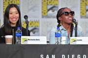 """Michaela Dietz and Estelle speak at the """"Steven Universe"""" Panel during 2019 Comic-Con International at San Diego Convention Center on July 19, 2019 in San Diego, California."""