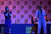 """Rebecca Sugar and Estelle speak at the """"Steven Universe"""" Panel during 2019 Comic-Con International at San Diego Convention Center on July 19, 2019 in San Diego, California."""