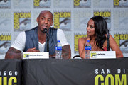 Mehcad Brooks and Azie Tesfai speak at the 'Supergirl' Special Video Presentation and Q&A during 2019 Comic-Con International at San Diego Convention Center on July 20, 2019 in San Diego, California.
