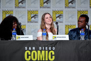 Yetide Badaki, Brittany Curran, and Adrian Lester speak at the TV Guide Magazine Fan Favorites 2019 during 2019 Comic-Con International at San Diego Convention Center on July 19, 2019 in San Diego, California.