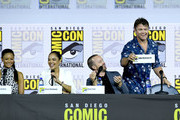 (L-R) Thandie Newton, Tessa Thompson, Aaron Paul and Luke Hemsworth speak at the 'Westworld III' Panel during 2019 Comic-Con International at San Diego Convention Center on July 20, 2019 in San Diego, California.