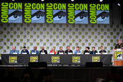 (L-R) Ernie Altbacker, Phillip Bourassa, Justin Copeland, James Tucker, Hynden Walch, Jason Spisak, Bruce Thomas, Maury Sterling, Geoffrey Arend, Sean Maher, Jason O'Mara and Gary Miereanu speak during the World Premiere Of 'Batman: Hush' during 2019 Comic-Con International at San Diego Convention Center on July 19, 2019 in San Diego, California.