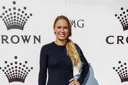 Caroline Wozniacki arrives at the 2019 Crown IMG Tennis Party at Crown Entertainment Complex on January 13, 2019 in Melbourne, Australia.