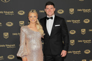 Chad Townsend of the Sharks poses with Marissa Townsend ahead of the 2019 Dally M Awards at the Hordern Pavilion on October 02, 2019 in Sydney, Australia.