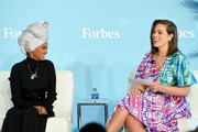 Halima Aden andAshley Graham speak at the 2019 Forbes Women's Summit at Pier 60 on June 18, 2019 in New York City.
