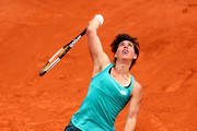Carla Suarez Navarro of Spain serves during her ladies singles third round match against Marketa Vondrousova of The Czech Republic  during Day six of the 2019 French Open at Roland Garros on May 31, 2019 in Paris, France.