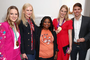"""Retransmission with alternate crop.) (L-R) Cassie Sharpe, Nicole Kidman, Octavia Spencer, Missy Franklin and Mac Bohonnon attend The 6th Annual """"Gold Meets Golden"""" Brunch, hosted by Nicole Kidman and Nadia Comaneci and presented by Coca-Cola at The House on Sunset on January 5, 2019 in West Hollywood, California."""