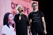 Deborra-lee Furness and Hugh Jackman speak onstage during the 2019 Global Citizen Festival: Power The Movement in Central Park on September 28, 2019 in New York City.