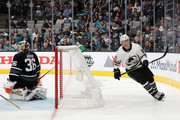 Mikko Rantanen #96 of the Colorado Avalanche scored a goal on John Gibson #36 of the Anaheim Ducks during the 2019 Honda NHL All-Star Game at SAP Center on January 26, 2019 in San Jose, California.