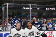 Cam Atkinson #13 and Seth Jones #3 of the Columbus Blue Jackets pose prior to the 2019 Honda NHL All-Star Game at SAP Center on January 26, 2019 in San Jose, California.