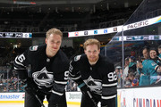Mikko Rantanen #96 and Gabriel Landeskog #92 of the Colorado Avalanche pose prior to the 2019 Honda NHL All-Star Game at SAP Center on January 26, 2019 in San Jose, California.