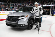 Sidney Crosby #87 of the Pittsburgh Penguins poses after being awarded a car after for winning the MVP award during the 2019 Honda NHL All-Star Game at SAP Center on January 26, 2019 in San Jose, California.