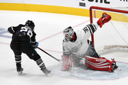 Jimmy Howard #35 of the Detroit Red Wings makes a save against Claude Giroux #28 of the Philadelphia Flyers during the 2019 Honda NHL All-Star Game at SAP Center on January 26, 2019 in San Jose, California.