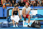 Alexander Zverev of Germany looks on from the players bench with Angelique Kerber while playing the mixed doubles match against David Ferrer and Garbine Muguruza of Spain during day two of the 2019 Hopman Cup at RAC Arena on December 30, 2018 in Perth, Australia.