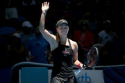 Angelique Kerber of Germany celebrates winning her singles match against Garbine Muguruza of Spain during day two of the 2019 Hopman Cup at RAC Arena on December 30, 2018 in Perth, Australia.