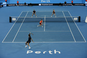 A general view of play in the mixed doubles match between  Belinda Bencic and Roger Federer of Switzerland and Katie Boulter and Cameron Norrie of Great Britain during day two of the 2019 Hopman Cup at RAC Arena on December 30, 2018 in Perth, Australia.