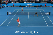David Ferrer of Spain serves in the mixed doubles match partnered with Garbine Muguruza against Alexander Zverev and Angelique Kerber of Germany during day two of the 2019 Hopman Cup at RAC Arena on December 30, 2018 in Perth, Australia.
