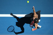 Angelique Kerber of Germany serves to Garbine Muguruza of Spain during day two of the 2019 Hopman Cup at RAC Arena on December 30, 2018 in Perth, Australia.