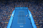 A general view of play is seen from the roof top catwalk of the singles match between Roger Federer of Switzerland and Cameron Norrie of Great Britain during day two of the 2019 Hopman Cup at RAC Arena on December 30, 2018 in Perth, Australia.