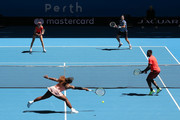 Katie Boulter and Cameron Norrie of Great Britain play against Serena Williams and Frances Tiafoe of the United States in the mixed doubles match during day six of the 2019 Hopman Cup at RAC Arena on January 03, 2019 in Perth, Australia.