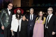 (L-R) Marco Bizzarri, Alessandro Michele, wearing Gucci, Betye Saar, wearing Gucci, LACMA CEO & Director Michael Govan, wearing Gucci, LACMA Trustee Eva Chow, wearing Gucci, and Alfonso Cuarón, wearing Gucci, attend the 2019 LACMA Art + Film Gala Presented By Gucci at LACMA on November 02, 2019 in Los Angeles, California.