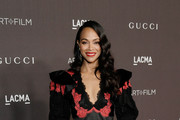 Zoe Saldana, wearing Gucci, attends the 2019 LACMA Art + Film Gala Presented By Gucci at LACMA on November 02, 2019 in Los Angeles, California.