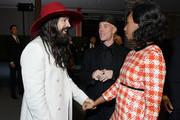 (L-R) Alessandro Michele, Trevor Andrew, and Santigold, all wearing Gucci, attend the 2019 LACMA Art + Film Gala Presented By Gucci at LACMA on November 02, 2019 in Los Angeles, California.