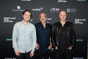 Sam Eggers, Harry Mavromichalis and Andrew Ford arrive at the 2019 Montclair Film Festival on May 5, 2019 in Montclair, New Jersey.