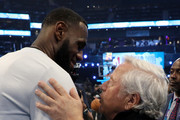 LeBron James #23 of the LA Lakers and Team LeBron greets Robert Kraft at halftime during the NBA All-Star game as part of the 2019 NBA All-Star Weekend at Spectrum Center on February 17, 2019 in Charlotte, North Carolina.  NOTE TO USER: User expressly acknowledges and agrees that, by downloading and/or using this photograph, user is consenting to the terms and conditions of the Getty Images License Agreement.