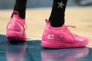 A detailed view of shoes worn by Kevin Durant #35 of the Golden State Warriors and Team LeBron is seen as they warm up before playing against Team Giannis during the NBA All-Star game as part of the 2019 NBA All-Star Weekend at Spectrum Center on February 17, 2019 in Charlotte, North Carolina. Team LeBron won 178-164. NOTE TO USER: User expressly acknowledges and agrees that, by downloading and/or using this photograph, user is consenting to the terms and conditions of the Getty Images License Agreement.