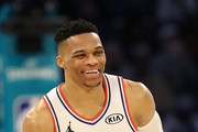 Russell Westbrook #0 of the Oklahoma City Thunder and Team Giannis reacts against Team LeBron in the second quarter during the NBA All-Star game as part of the 2019 NBA All-Star Weekend at Spectrum Center on February 17, 2019 in Charlotte, North Carolina.  NOTE TO USER: User expressly acknowledges and agrees that, by downloading and/or using this photograph, user is consenting to the terms and conditions of the Getty Images License Agreement. Mandatory Copyright Notice: Copyright 2019 NBAE