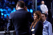 Reporters Rachel Nichols and Adrian Wojnarowski speak before the start of the 2019 NBA Draft at the Barclays Center on June 20, 2019 in the Brooklyn borough of New York City. NOTE TO USER: User expressly acknowledges and agrees that, by downloading and or using this photograph, User is consenting to the terms and conditions of the Getty Images License Agreement.
